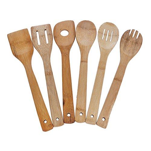 HooAMI Set of 6 Bamboo Kitchen Tools Set Utensils Cooking Scoop Mat Wooden