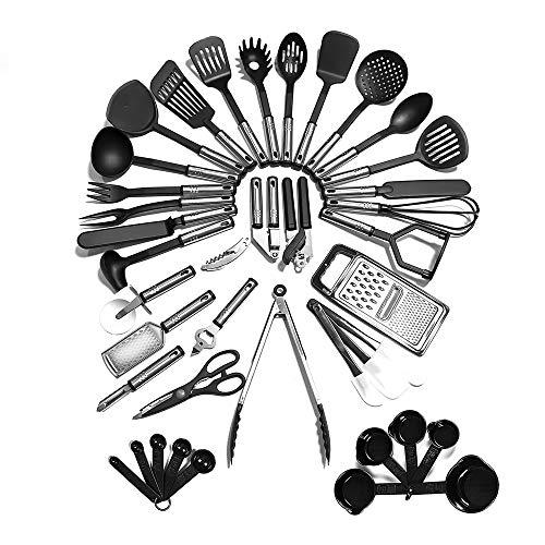 Kitchen Utensil Set - 40 Nylon Cooking Utensils - Kitchen Utensils with Spatula - Kitchen Gadgets Cookware Set - Best Kitchen ToolBPA Free NON Toxic-40pcs Black)