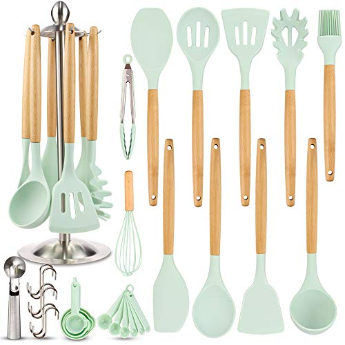 Silicone Kitchen Cooking Utensil Set EAGMAK 16PCS Kitchen Utensils Spatula Set with Stainless Steel Stand for Nonstick Cookware BPA Free Non Toxic Cooking Utensils Kitchen Tools Gift Mint Green