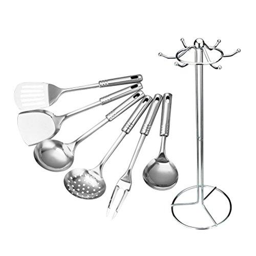 Stainless Steel Kitchen Utensil Set BESTOMZ Kitchen Cooking Tool Serving Utensil Set 7 Piece