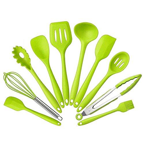 C360 10 Pack Kitchen Utensils Set Non Stick Cooking Utensils Heat-resistant Kitchenware Green