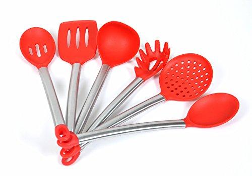 ChefzPros Nonstick Silicone Kitchen Utensil Set - Red