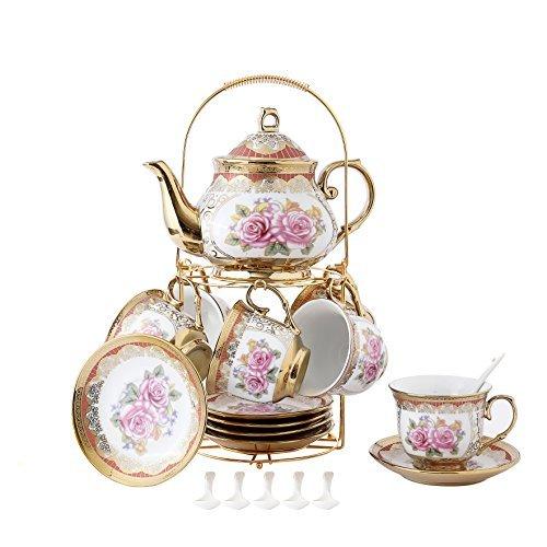 ufengke 13 Piece European Retro Titanium Ceramic Tea Set With Metal Holder Porcelain Tea Cups Set For Wedding Red Rose Painting