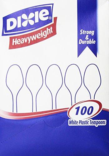 Dixie® Plastic Tableware, Heavyweight Teaspoons, White, 100 Per Box