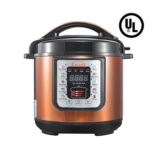 Ewant 9-in-1 Multi-functional Electric Pressure Cooker Pressure Cooker Slower Cooker Digital Stainless Steel Pressure Cooker Rice Cooker 6 Quart1000W Orange