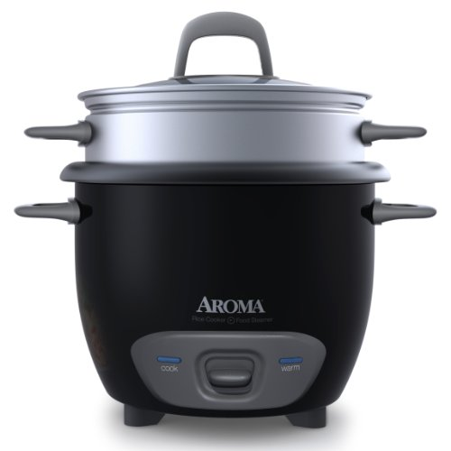 Aroma Housewares 6-Cup Cooked Pot-Style Rice Cooker and Food Steamer Black ARC-743-1NGB