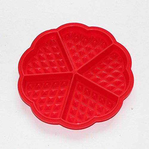 X-Haibei 7 MINI Heart Shaped Waffles Muffin Silicone Mold Baking Pan 33405inchcavity