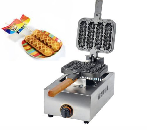 FY-114R 4 Pcstime Commercial Non-stick LPG Gas Lolly Waffle Maker 135 x 4cm Baking Machine 2800 Pa