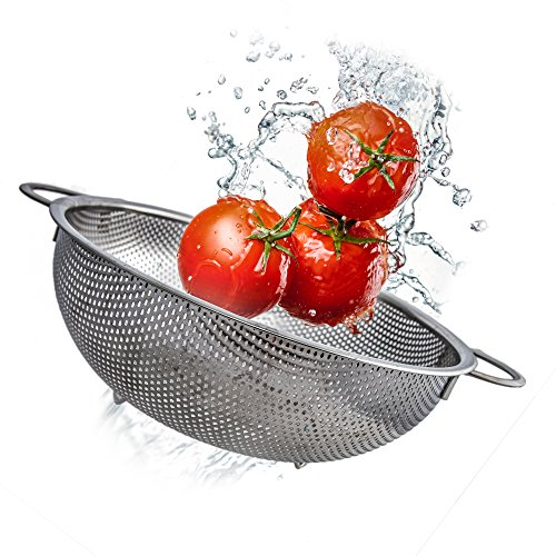 Uni Steel Stainless Kitchen Colander - Large, 3 Quart Fine Mesh/ Micro Perforated Metal Strainer With Handles