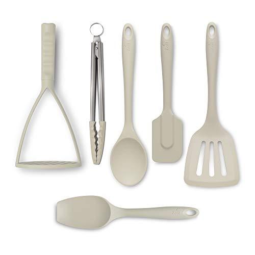 Zeal JSET47C Non-Stick Silicone Tongs Turner Spatula Cooks Spoon Spatula Masher 6-Piece Set-Cream