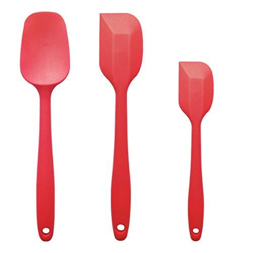 3 pcsset Non Stick Flexible Silicone Spatulas 2 silicone Spatulas and 1 Spoon Spatula