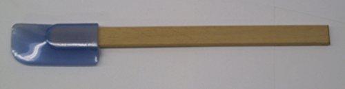 Narrow Blue Silicone Spatula wood handle