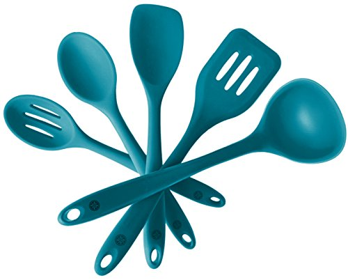StarPack Premium Silicone Kitchen Utensil Set 5 Piece in Hygienic Solid Coating  Bonus 101 Cooking Tips Teal Blue