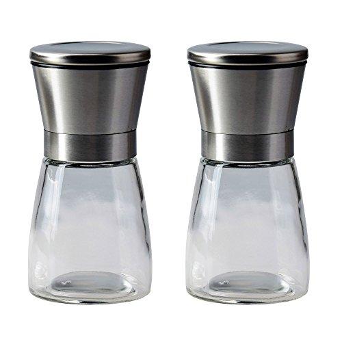 Gam3Gear Stainless Steel and Glass Body Salt and Pepper Grinder Set Adjustable Coarseness Spice Mill Grinder