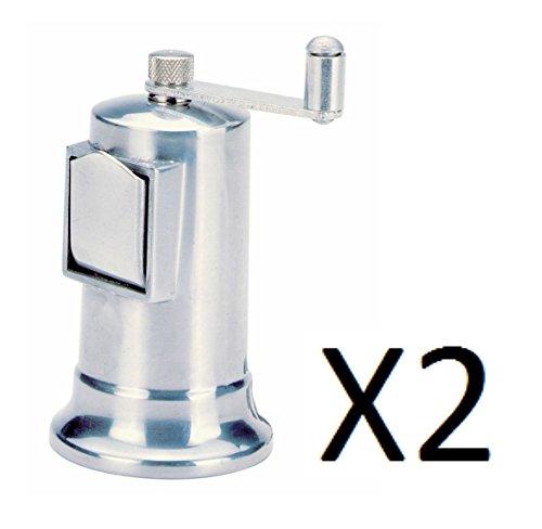 Norpro 4 Adjustable Pepper Mill Fine To Coarse Grinder Metal 3 oz 2-Pack