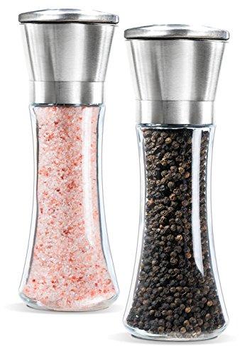 Levav Premium Salt and Pepper Grinder Set of 2- Brushed Stainless Steel Pepper Mill and Salt Mill 6 Oz Glass Tall Body 5 Grade Adjustable Ceramic Rotor- Salt and Pepper Shakers