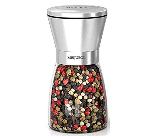MEIJUBOL Pepper Grinder Salt Shaker 55 x 25 Spice Bottle with Stainless Steel Rotor and Ceramic Mill to Adjust Coarseness