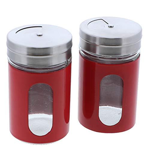 Red Salt Pepper Shakers Retro Spice Jars Glass - Set of 2