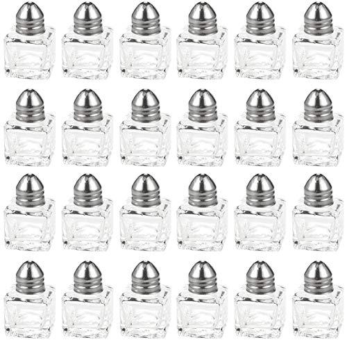 Srenta Mini Salt Pepper Shakers Set  Classic Design Transparent Glass Kitchenware  Essential Dining Table Refillable Tool  05 Oz Set of 24