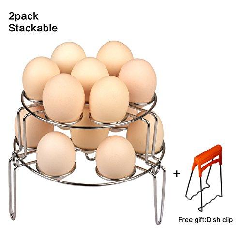 Egg Steamer Rack CUGLB Egg Cooker Stackable Steamer Rack Trivet for Instant Pot and Pressure Cooker 2-Pack Egg Steamer Rack for Instant Pot