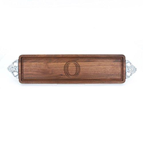 BigWood Boards W500-SC-O Long Bread Board 6-Inch by 22-Inch by 075-Inch Monogrammed O Walnut