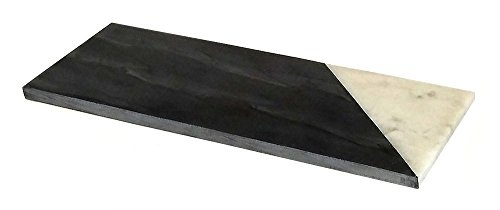 mountain woods Genuine French Marble Stone CheeseCutting Board 12 L x 6 W BlackWhite