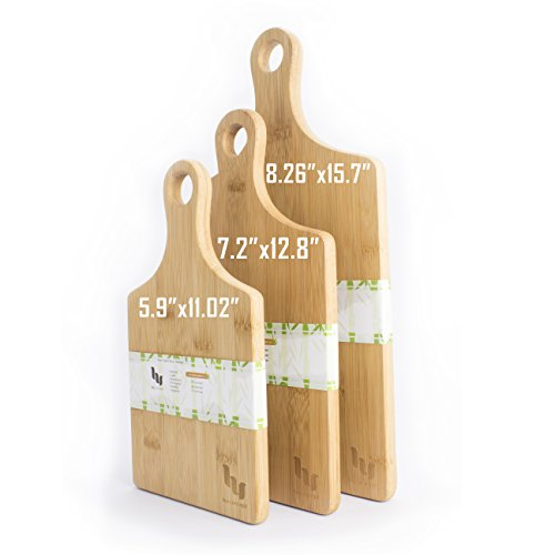 VISHTEA Heart Shaped Bamboo Cutting Board Set Chopping Board with Handle Thick Bamboo Wood Cutting Board Handle 3pcs