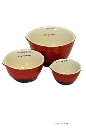 Set 3 Piece Vintage Red Nesting Ceramic Kitchen Measuring Bowls Cups