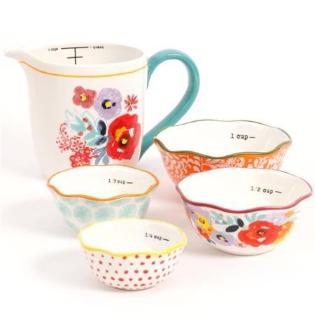 The Pioneer Woman Flea Market 5-Piece Prep Set 4-Piece Measuring Bowls with 4-cup Measuring Cup 1