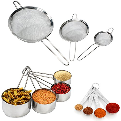Strainer Fine Mesh Set - Sifter Set - 11 Piece Set - Stainless Steel Stackable Measuring Cups and Spoons – Mesh Strainer Set by Colleta Home