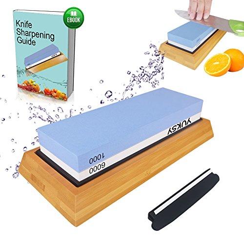 Premium Knife Sharpening Stone Kit 2 Side 10006000 Grit Whetstone Best Kitchen Blade Sharpener Stone Non-Slip Bamboo Base BONUS Angle Guide Included for Chef Kitchen Pocket Knife and Scissors