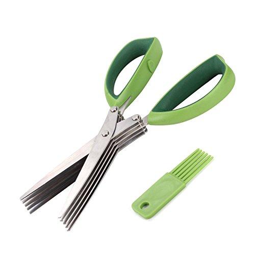 Herb Scissors Kitchen Shears Besiva 5 Blades Stainless Steel Multipurpose Vegetable Scissors with Cleaning Brush Ideal for Snipping Herbs Office Shredding Paper Art Handmade Papercut