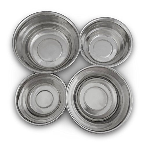 Lightweight Stainless Steel Bowls Set 7 inches x 3 inches Set of 4