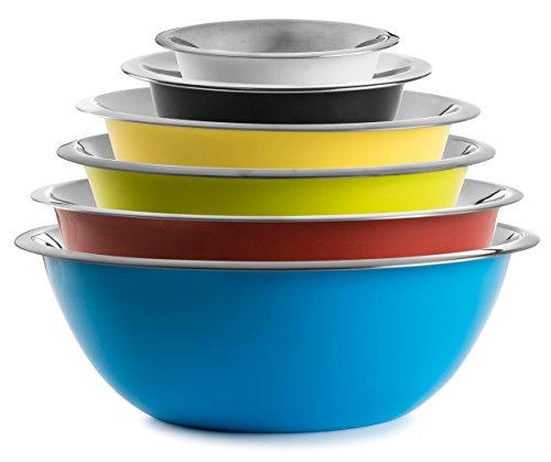 Stock Your Home Multicolor Stainless Steel Mixing Bowls and Serving Bowls—Set of 6 — 12 Qt 1 Qt 2 Qt 3 Qt 4 Qt and 5 Qt