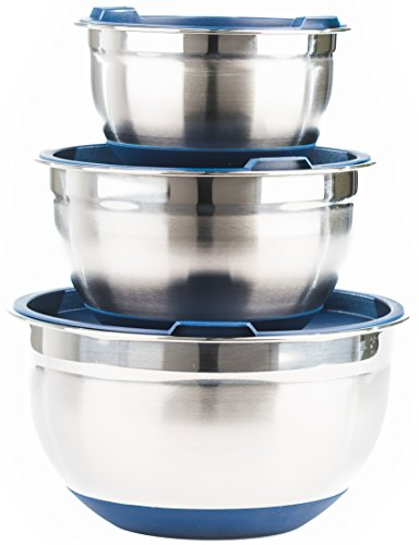 Fitzroy and Fox Non-Slip Stainless Steel Mixing Bowls with Lids Set of 3 Blue