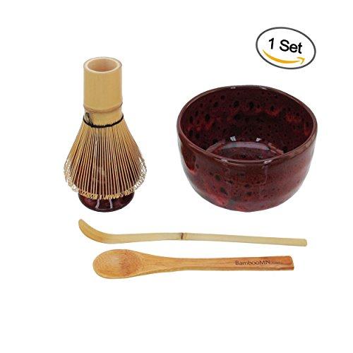 BambooMN Brand - Matcha Bowl Set Includes Bowl RestTea Whisk Chasaku Tea Spoon 1 Set Deep Red wBlack