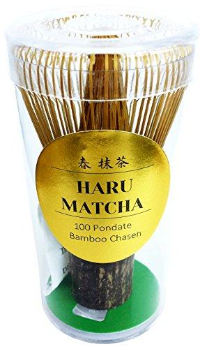 HARU MATCHA - MADE IN JAPAN- KUROCHIKU Black Bamboo Chasen - Handcarved Matcha Greentea Whisk 100 Prongs