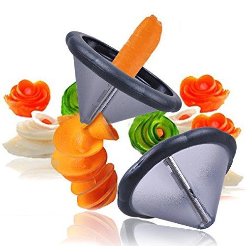Prokitchen Easy Carrot Cucumber Spiral Curler Sharpener Crinkle Cutter Stainless Steel Carrot Flower Salad Decorating Maker Peeler for Fruits and Vegetables Curl Slicer with Sharp Blade Pack of 2