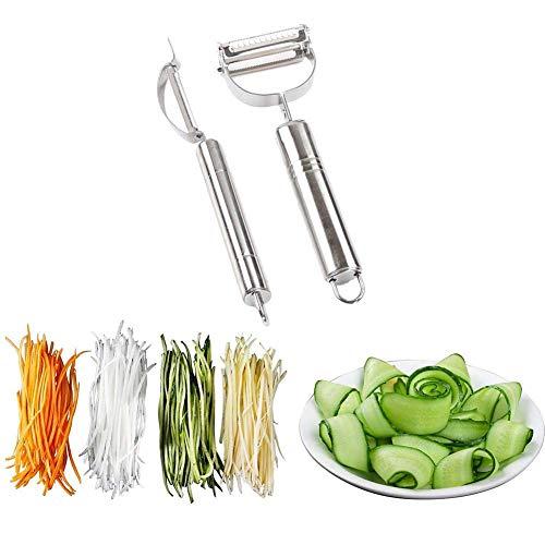 2-Piece Peeler Set Chef Vegetable Peeler Set with Stainless Steel Swivel Blade for Potato Carrot Apple Citrus
