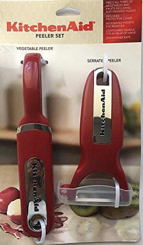 KitchenAid Classic 2-pc Handheld Peeler Set Vegetable Peeler and Serrated Peeler Red