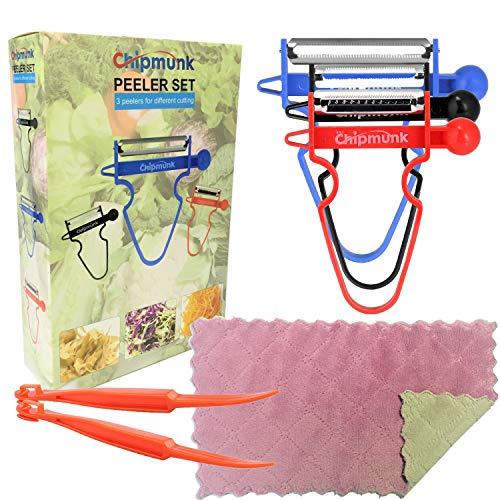 Magic Trio Peeler Set Use as Vegetable Peeler Potato Peeler Veggie Peeler Julienne Peeler Orange Peeler Garlic Peeler with 2 Orange Peeler  1 Kitchen Towels 6 pcs