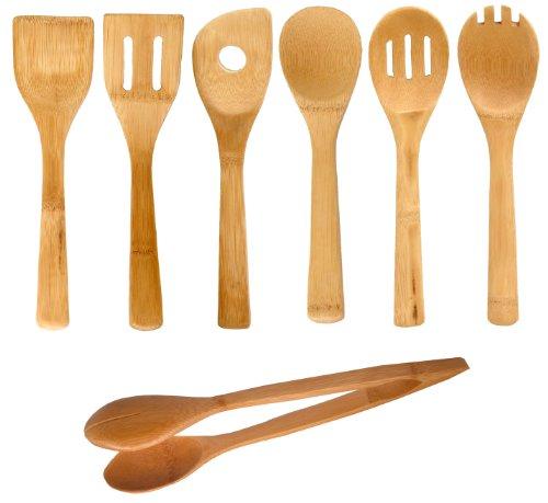 Bamboo Kitchen Tools Set of 6 W Free Bamboo Tongs 12 H