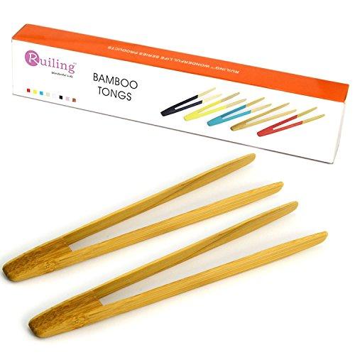 RuiLing Long Grip 2-Pack 95-Inch Natural Bamboo Kitchen Tongs Toast Tongs