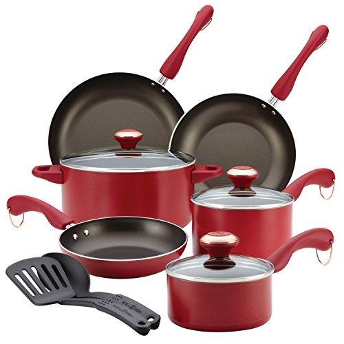 Paula Deen Signature Dishwasher Safe Nonstick Cookware Set 11-Piece Red