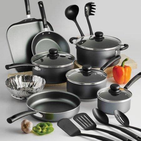Tramontina PrimaWare 18-Piece Nonstick Cookware Set Steel Gray