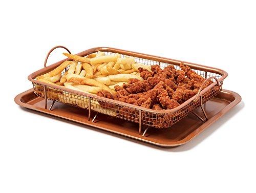 MareLight Copper Baking Sheet Air Fryer - Deluxe Multi-Purpose Copper Crisper Chef Pan Sheet with Non Stick Mesh Grill Crisper Tray - Oven Safe Non-Stick Square Pan Design 13x9x25