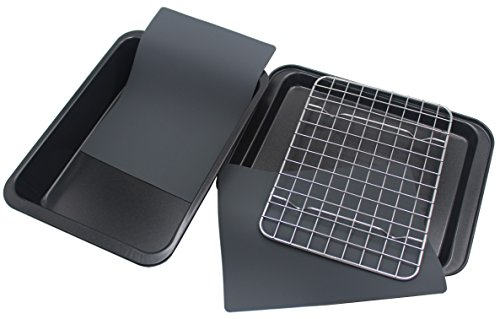Checkered Chef Toaster Oven Pans - 5 Piece Nonstick Bakeware Set Includes Baking Trays Rack and Silicone Baking Mats - Best Accessories For Toaster and Convection Ovens