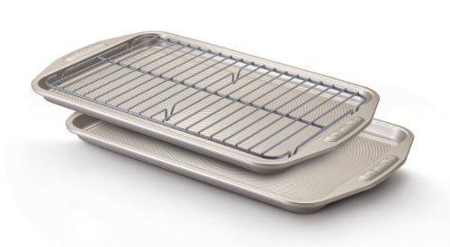 Circulon Nonstick 3-Piece Bakeware Set 2 10x15 Cookie Pans 1 98 x 146 Cooling Rack