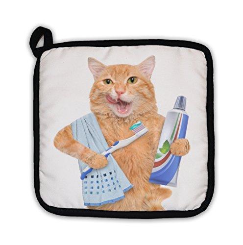 Gear NewBrushing Teeth Cat Pot Holder