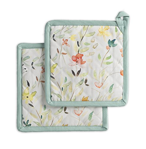 Maison d Hermine Colmar 100 Cotton Set of 2 Pot Holders 8 Inch by 8 Inch